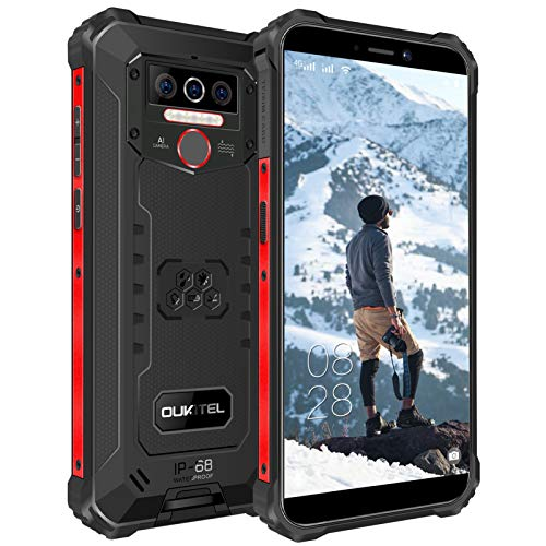 OUKITEL WP5 Rugged Smartphone IP68 in Offerte,Dual 4G Impermeabile Antiurto Telefono Robusto,8000mAh Batteria 4+32GB Cellulari Economici, 5.5' FHD+ Gorilla Glass,Triple Camera,4 LED Flash,GPS Nero