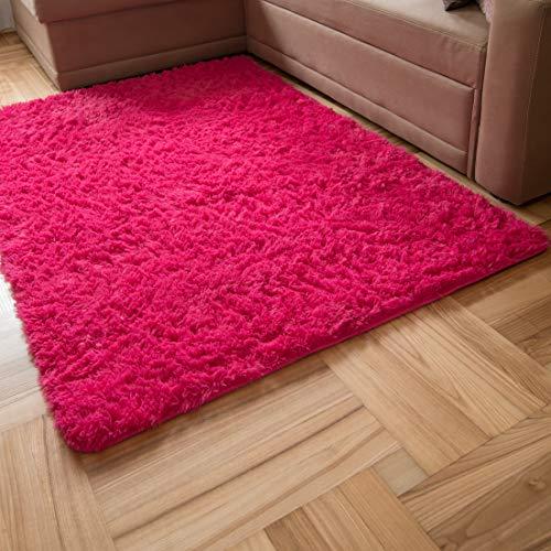 Carpeto Rugs Tapis Salon, Chambre Shaggy à Poil Long - Doux Moquette pour Chambre - Tapis Moelleux Grande Taille de Chambre Adulte Moderne - Rug - Rose - 80 x 150 cm