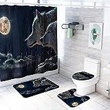 MOOUK Duschvorhang Set, 4PCS Badezimmer Teppiche Set - Podest Teppich + Deckel Toilette Abdeckung + Badematte & Wasserfest Duschvorhang Tiere Themen Heim Dekor - Yl15+sy153 (Wolf), Einheitsgröße