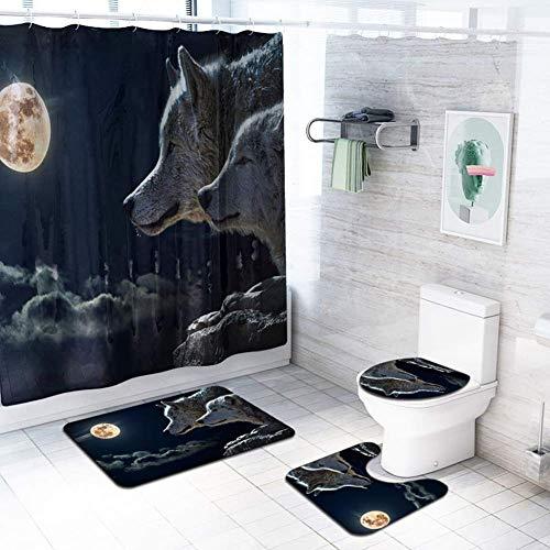 MOOUK Duschvorhang Set, 4PCS Badezimmer Teppiche Set - Podest Teppich + Deckel Toilette Abdeckung + Badematte und Wasserfest Duschvorhang Tiere Themen Heim Dekor - Yl15+sy153 (Wolf), Einheitsgröße