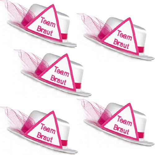 Party-Teufel® 5er Set Mini Hut Aufschrift Team Braut, Weiß mit Dreieck sowie Brautschleier in Pink und Haarclips Junggesellenabschied