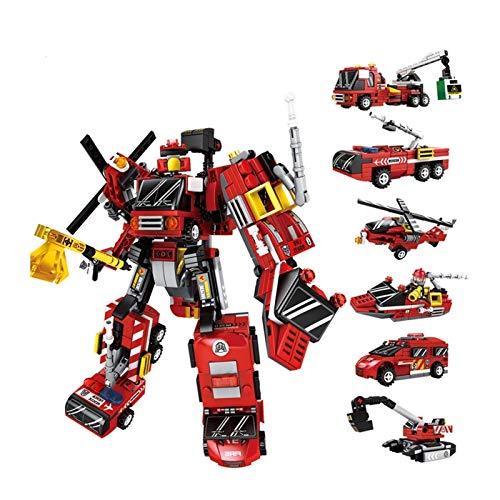 NOLO 6In1 Transformers Robot Toys Toys City Action Figure Toys Children Children Vehicle Modelo Bloques de construcción Ladrillos Ensamblaje Toys Regalo