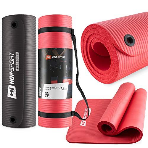 Hop-Sport Gymnastikmatte NBRmit Ösen zum Aufhängen HS-N015GML Fitnessmatte Abmessungen: 180x61x1,5 cm / 2 Farbvarianten + Tragegurt (rot)