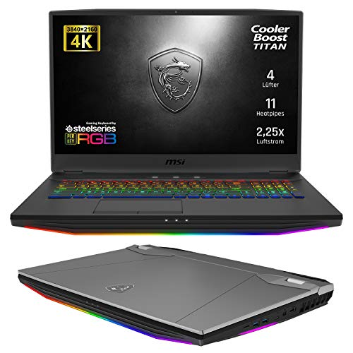 MSI GT76 9SG-028 Titan DT 4K (43,9 cm/17,3 Zoll/UHD) Gaming-Laptop (Intel Core i9-9900K 5GHz, 64GB RAM, 2TB PCIe SSD, Nvidia GeForce RTX2080 8GB GDDR6 VRAM, Windows 10 Pro) stahlgrau-schwarz