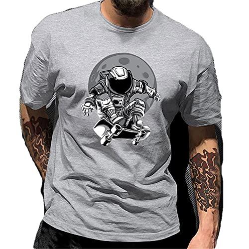 Manga Corta Hombre Verano Clásica Moda Cuello Redondo Regular Fit Hombre Camiseta Moderno Astronauta Monopatín Hombre Shirt Diario Casual All-Match Hombre Casuales Camisa