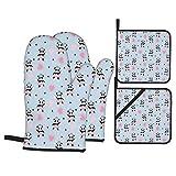 Ofenhandschuhe und Topflappen 4er-Sets,Netter Panda Ballerinas Hintergrund,Polyester-Grillhandschuhe mit gesteppten,linerbeständigen heißen Pads zum Kochen,Backen,Grillen