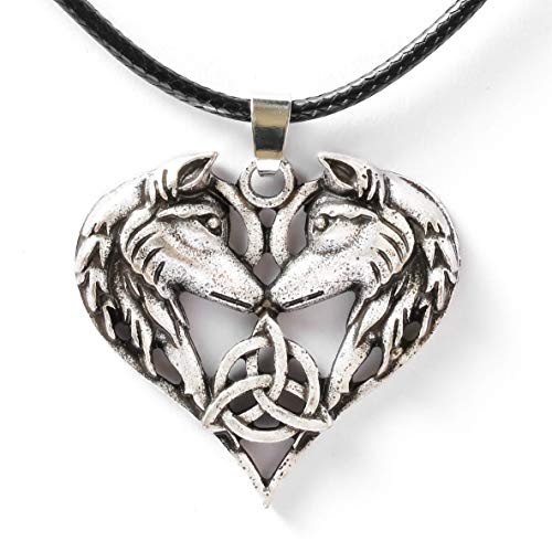 HAQUIL Wolf Necklace, Entwined Wolf Couple Triquetra Heart Pendant, Faux Leather Cord, Wolf Jewelry Gift