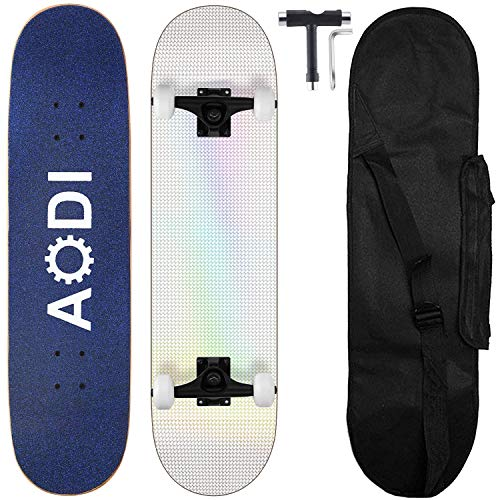 "AODI Skateboards for Beginners, Pro 31""x8"" Standard Complete Skateboard Canadian 7 Layer Maple Wood Kick Cruiser Skate Board for Adults, Teens, Girls, Boys & Kids"