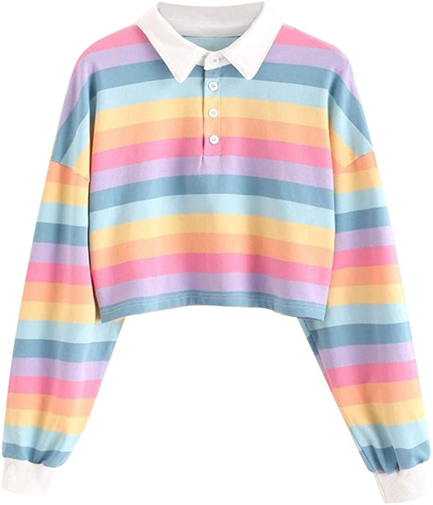 POTO Womens Pullover Sweatshirt Stripe Print Tee Shirts Cround Neck Long Sleeve Crop Tops Button Tops Casual Blouse