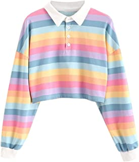 Womens Rainbow Stripe Sweatshirt Blouse Teen Girls Long Sleeve Pullover Hoodies Tops Lapel Button Sports t-Shirt