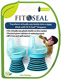 Fit N Seal Sippy Cup Bottle Top - Spill Proof Spout for Toddlers Drinking Water, Juice or Milk Plastic Bottles - Reusable, No BPA, Non-Leak Universal Lid for Travel - Best Kids Gift for Boys and Girls
