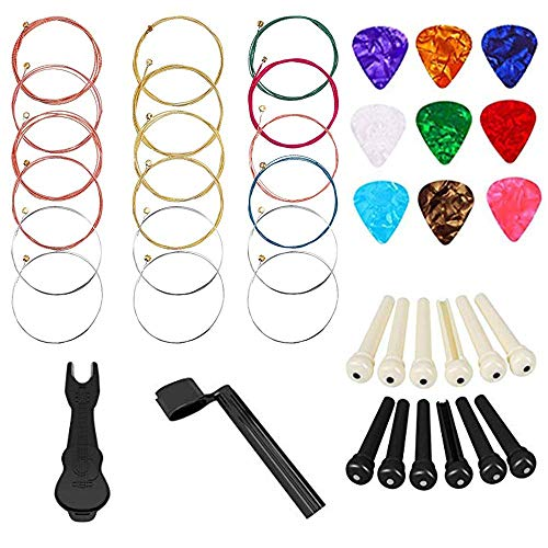 Non-square 3 Sets of 6 Acoustic Guitar Strings(Gold/Brass/Multicolor).Gifts Including 1 Strings Winder, 1 Pin Puller, 12 Bridge Pins and 9 Guitar picks.