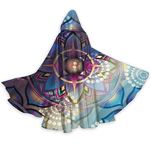 Zome Lag Adult Cape Cloak Lotus Gradient Mystic Trippy Motif Ornaments Unisex Christmas Halloween Witch Party Hooded Cloak Costumes