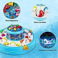 Baztoy Pesca Pesciolini Gioco Magnetico, Pesci Giocattoli per Bambini con Canne da Pesca & Luci & Musica Gadget Compleanno Regali Ragazzi Ragazze 3 4 5 6 7 Anni Bimbi Giochi Educativi Interattivi #3