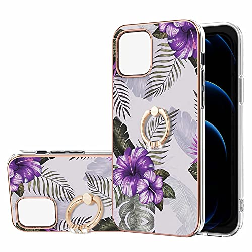 Ttimao Compatible con Funda iPhone 13 Mini Mármol Diseño Cubierta con 360° Soporte de Anillo Ajustable Suave TPU Antigolpes Cáscara-Flor Purpura