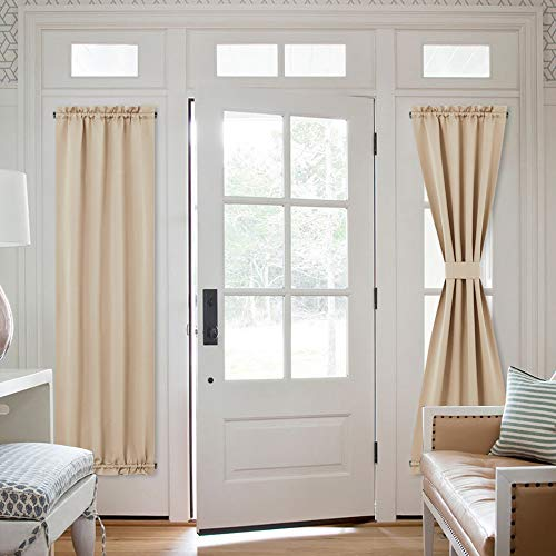 NICETOWN Patio Glass Door Curtains - Window Treatment Room Darkening French Door Panel Curtains for Sidelight/Sliding/Front Glass Door (2 Panels, 25 inches Wide x 72 inches Long, Biscotti Beige)