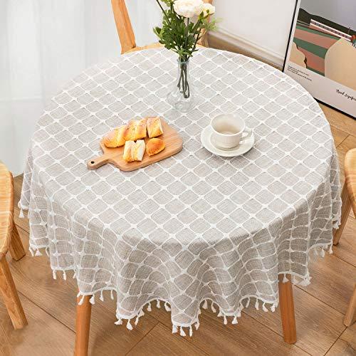 HB life Tischdecke Tischtuch Tischwäsche Runder 140cm Tischdekoration Tafeltuch hochwertig Karierte Quaste aus Baumwolle und Leinen Pflegeleicht Garten Zimmer Tischdekoration Grau