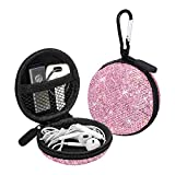 SAVORI Earphone Case Earbuds Small Carrying Cases Bling Rhinestone Crystal Portable Headphone Organizer Storage Pouch Bag with Carabiner 1 Pack (Pink)