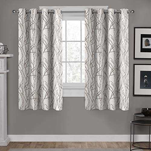 Exclusive Home Curtains Branches Linen Blend Window Curtain Panel Pair with Grommet Top, 54x63, Natural, 2 Count