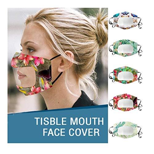 5 Stück Mundschutz mit Sichtfenster, Visible Lippen Mundschutz mit klarem Fenster, Mund Nasenschutz Transparent Waschbare Wiederverwendbare für Erwachsene Gehörlose