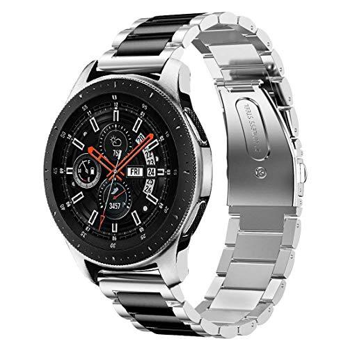 ANBEY Armband Kompatibel für Galaxy Watch 46mm / Gear S3 Frontier Classic Smartwatch Armband, 22mm Edelstahl Ersatz Armband Band Schwarz 2