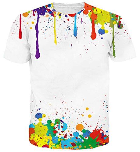 Goodstoworld Camiseta Cuello Divertido Multicolor Pintura Impreso Camisetas del Verano Redondo con Estilo T-Tops para Mujer para Hombre XL