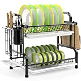 iSPECLE Dish Drying Rack, 304 Stainless Steel 2-Tier Dish Rack with Utensil Holder, Cutting Board Holder and Dish Drainer for Kitchen Counter