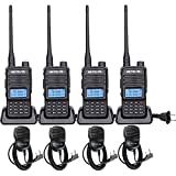 Retevis RT85 Dual Band 2 Way Radio,Long Range Handheld Radio,200CH,Handsfree,Channel Lock,Tough High Power Walkie Talkies with Speaker Mic(4 Pack)