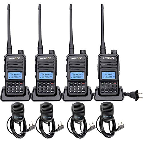 Retevis RT85 Walkie Talkies Long Range, Dual Band 200 Channels 2 Way Radios, High Power VOX Emergency Adults Two Way Radios with Speaker Mic(4 Pack)
