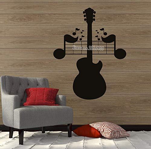 wopiaol Große Wandtattoo Noten Gitarre Gitarre Musikinstrument Kunst Wandbild Aufkleber Abziehbilder Sofa Hintergrund Dekor Vinyl Aufkleber L.