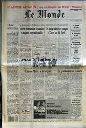 MONDE (LE) [No 13627] du 19/11/1988 - LE MONDE AFFAIRES - LES STRATEGIES DE ROBERT MAXWELL - LE BRESIL A GAUCHE TOUTE - MOSCOU CONTRAINT DE REEXAMINER LES RAPPORTS ENTRE NATIONALITES PAR BERNARD GUETTA - LES INDEPENDANTISTES CANAQUES D'OUVEA ONT ETE LIBERES - LA GLISSADE DU DOLLAR - M. GORBATCHEV EN INDE - UNE PREMIERE EN AFRIQUE DU SUD - ISRAEL ET L'OLP - NICOMEDE AU FRANCAIS - EDMOND MAIRE, LE DERANGEANT PAR MICHEL NOBLECOURT - LE GENTILHOMME ET LA MORTE PAR EDWY PLENEL - LES PHARMACI