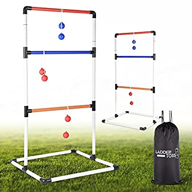 Ladder Toss Ball Game Set - Box Shaped Sturdy & Stable Base – 6 Toss Bolos with Thick Rope – Built-in Score Tracker – Ideal for Indoor/Outdoor Game - With Backpack Bag – Easy Setup – 2-4 Player
