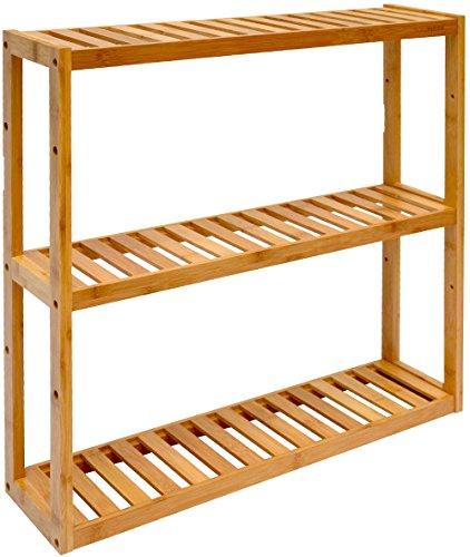 DuneDesign Estantería de Pared 54x60x15cm Flotante 3 baldas Ajustables repisas de Madera de bambú para Colgar baño Cocina
