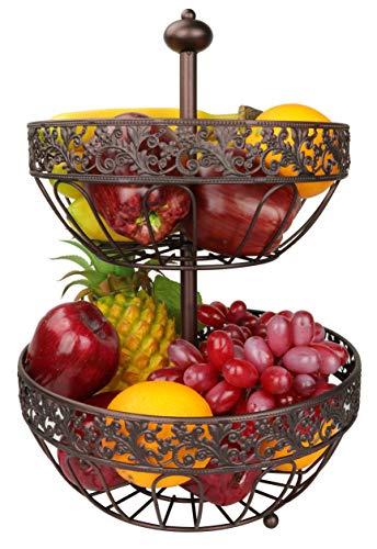 Dongjiang Roselife Metalen fruitmand, meerlagige fruitmand, 2-laags fruitmand, fruitschaal, schaal zilver, fruitschaal, fruitstandaard, fruithouder, brons
