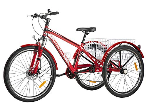 VANELL Adult Mountain Tricycle 20/24/26 in 7/1 Speed Three Wheel Cruiser Trike Bike with Front Suspension Fork Front Disc Brake MTB Tire Bicycle (Red - Black+White, 7speed&24')