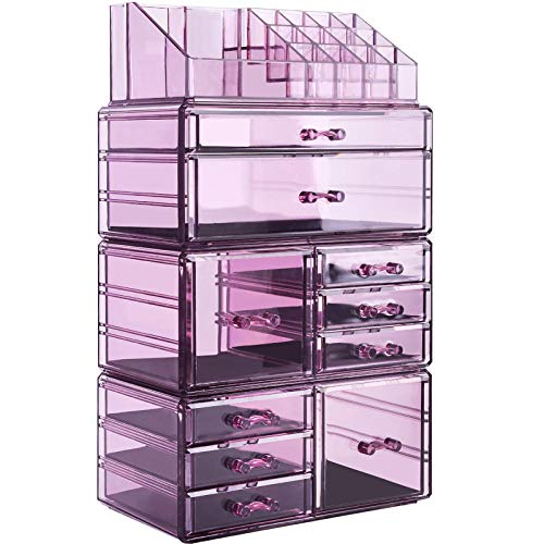 InnSweet Acrylic Makeup Organizer Cosmetic Storage Drawers and Jewelry Display Box Large Capacity Makeup Holders with 10 Drawers Purple