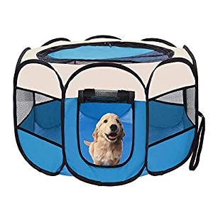 afuLaI 40″ Portable Foldable Pet Playpen Exercise Pen Kennel with Carrying Case for Dog Cat Rabbit Hamster Indoor/Outdoor Use, Blue
