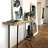 HANNUN Mueble Recibidor Enzi de Madera Maciza | Mueble de Entrada Artesanal Fabricado a Mano, 80x85x30cm
