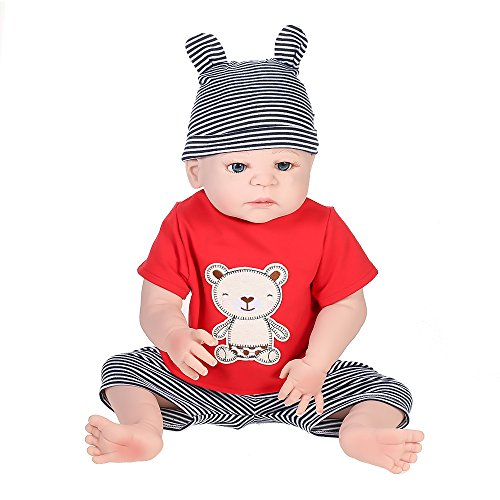 Sunbaca Boneca Menino Renascer de Silicone Completo Com Roupas de Cabelo Enraizado Boneca Recém-nascida Boneca Boneca 22in 55 cm Presentes de Menina Fofos de Brinquedo Urso Vermelho