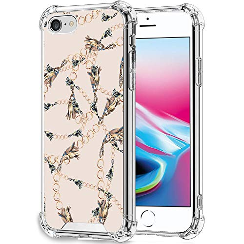 FAUNOW Funda protectora para iPhone 7/8/SE2 de cuatro esquinas, a prueba de golpes y caídas, TPU + PC, diseño de cadena dorada ultrafina, ajuste protector