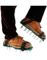 N/AA Gazon beluchter schoenen met 2 veilige verstelbare bandjes en 26 stuks spikes, tuin gras beluchter spiked sandalen universele maat voor alle schoenen of laarzen