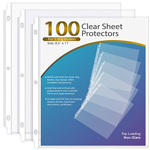 Ktrio Sheet Protector 8.5 x 11 Inches Non-Glare Clear Page Protectors, Plastic Sleeves for Binders, Paper Protector for 3 Ring Binder Letter Size Top Loading, 100 Pack