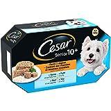 CESAR Barquettes en gelée pour chien senior 10+ aux 4 saveurs, 24 barquettes de 150g
