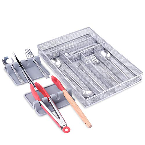 6 Compartments Metal Mesh Kitchen Flatware Organizer Tray, Silverware...