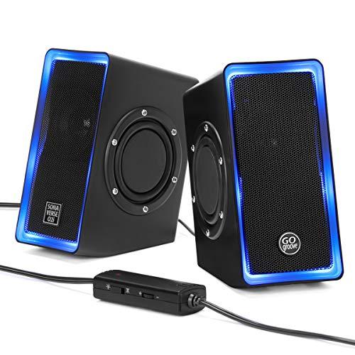 GOgroove SonaVERSE O2i LED PC Boxen für Laptop und Computer USB Lautsprecher für Gaming Desktop mit Verkabelter Kopfhörerbuchse AUX-Audioeingang, Blaue Lichter und Lautstärkeregler - Schwarz