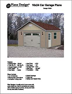 16' X 24' Car Garage/workshop Project Plans -Design #51624
