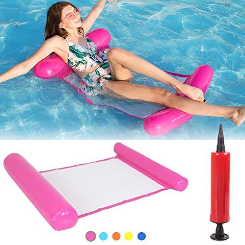 SenluKit Aufblasbares Schwimmbett, Wasser-Hängematte 4-in-1Loungesessel Pool Lounge luftmatratze Pool aufblasbare hängematte Pool aufblasbare hängematte für Erwachsene und Kinder