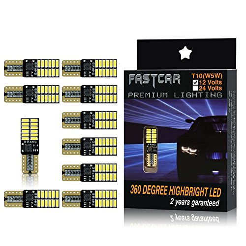 Fastcar 10pcs 194 W5W T10 led canbus no error cuneo lampadine 24 leds 4014SMD Luci di posizione Piastra lampada auto Gioca Car interno 6500k 12V (Bianca)…
