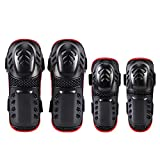 Booric 2 Pair of Motocross Elbow Knee Shin Guard Pads for Youth/Adult Adjustable Size Protector Elbow Motorcycle Bicycle/Cycling/Racing/Ski/Roller Skating