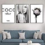 WKHRD Coco Fashion Modern Girl Leinwand Wandkunst Gemälde